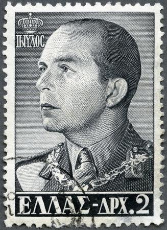 GREECE - CIRCA 1956: A stamp printed in Greece shows King Paul (1901-1964), circa 1956 Stock Photo - 16232888