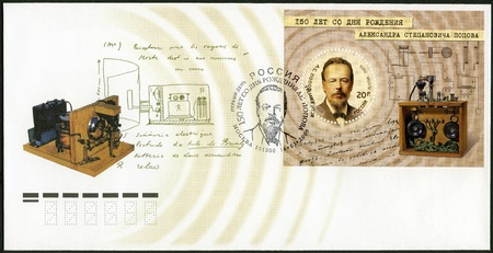 RUSSIA - CIRCA 2009: A stamp printed in Russia shows 150th Anniversary of the Birth of A.S. Popov (1859-1906), physicist, electrical engineer and inventor of radio, circa 2009 Stock Photo - 16232889
