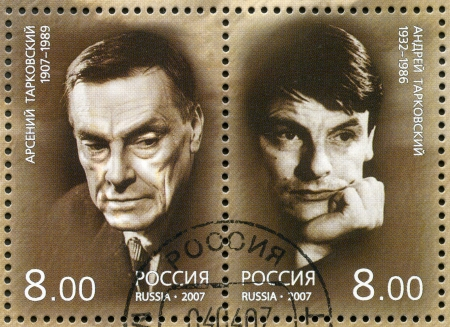 filmmaker: RUSSIA - CIRCA 2007: A stamp printed in Russia shows Arseny and Andrei Tarkovsky, circa 2007