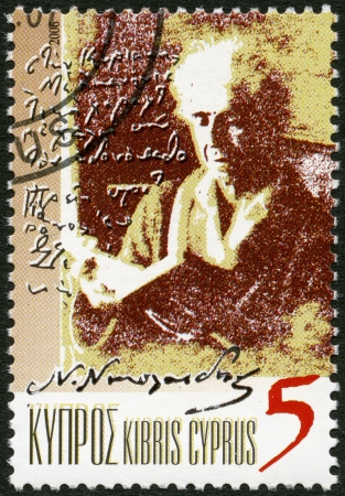 CYPRUS - CIRCA 2006  A stamp printed in Cyprus shows Nicos Nicolaides  1884-1956 , Writer, circa 2006 Stock Photo - 16232893