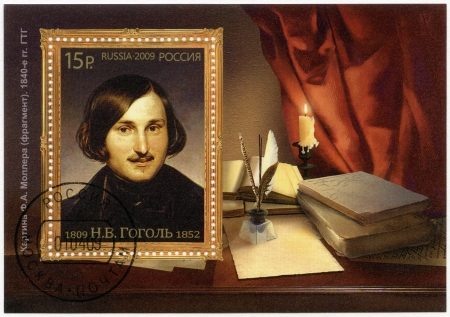 RUSSIA - CIRCA 2009: A stamp printed in Russia shows the 200th anniversary of birth of Nikolai Vasilievich Gogol (1809-1852), writer, circa 2009 Stock Photo - 16232895