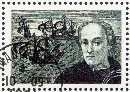 christopher columbus: MALAGASY REPUBLIC - CIRCA 1991: A stamp printed in Malagasy (Madagascar) devoted to 500th anniversary of the discovery of America, shows Christopher Columbus, circa 1991