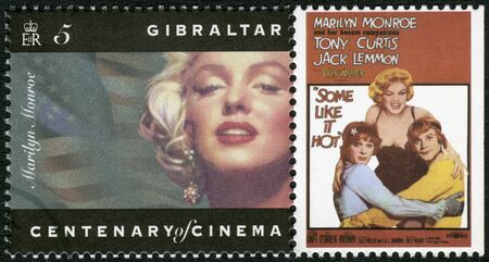 marilyn: GIBRALTAR - CIRCA 1995: A stamp printed in Gibraltar shows Marilyn Monroe, Tony Curtis, Jack Lemmon,