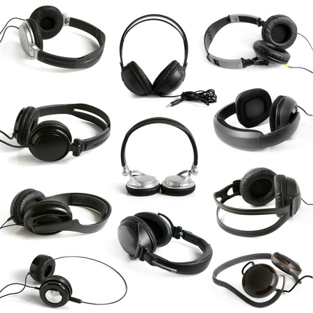 Earphones collection on the white background photo