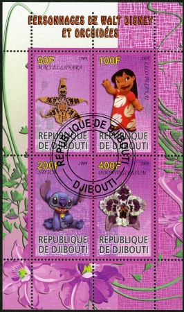 lilo: DJIBOUTI - CIRCA 2009  A stamp printed in Republic of Djibouti shows Scenes from Walt Disney s Lilo and Stitch Editorial