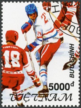 deportes olimpicos: VIETNAM - alrededor de 1991 Un sello impreso en Vietnam muestra Hockey, Juegos Olímpicos de Invierno 1992, Albertville, alrededor del año 1991 Editorial