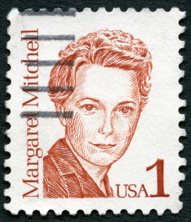 united states postal service: USA - CIRCA 1986  A stamp printed in USA shows Margaret Munnerlyn Mitchell  1900-1949 , American author and journalist, series Great Americans, circa 1986