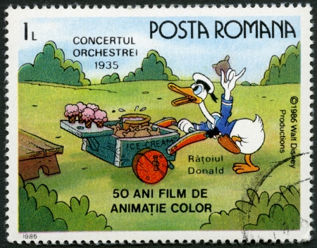 donald: ROMANIA - CIRCA 1986: A stamp printed in Romania shows Donald Duck, Walt Disney characters in the Band Concert, 1935, devoted fifty years of Color Animated Films, series, circa 1986 Editorial
