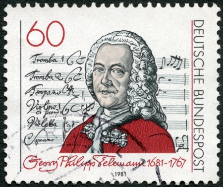 GERMANY - CIRCA 1981: A stamp printed in Germany shows Georg Philipp Telemann (1681-1767), Title Page of  Editorial