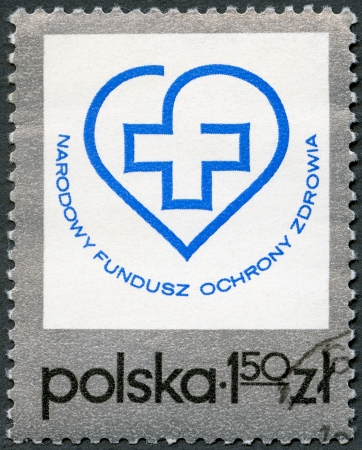 postal card: POLAND - CIRCA 1975: A stamp printed in Poland shows Health Fund Emblem, circa 1975 Editorial