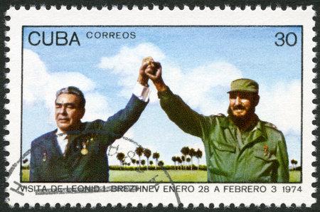 the ussr: CUBA - CIRCA 1974: A stamp printed in Cuba shows Leonid Brezhnev and Fidel Castro, devoted Visit of Leonid I. Brezhnev to Cuba, January 28-February 3, circa 1974