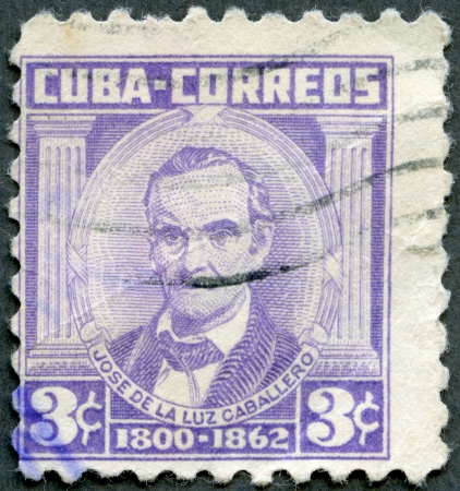 CUBA - CIRCA 1954: A stamp printed in Cuba shows Jose de la Luz Caballero (1800-1862), circa 1954 Stock Photo - 16558331