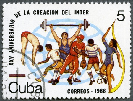 CUBA - CIRCA 1986: A stamp printed in Cuba devoted National Sports Institute (INDER), 25th Anniversary, circa 1986