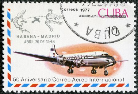 cachet: CUBA - CIRCA 1977  A stamp printed in Cuba shows shows Jet aircraft and Havana-Madrid cachet, Apr 26, 1948, series International Airmail Service, 50th Anniversary, circa 1977