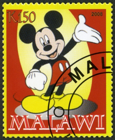 disneyland: MALAWI - CIRCA 2008: A stamp printed in Malawi shows Mickey Mouse, circa 2008