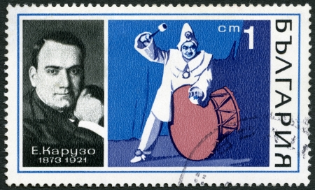 BULGARIA - CIRCA 1970  A stamp printed in Bulgaria shows Enrico Caruso  1873-1921  and  Stock Photo - 16652989