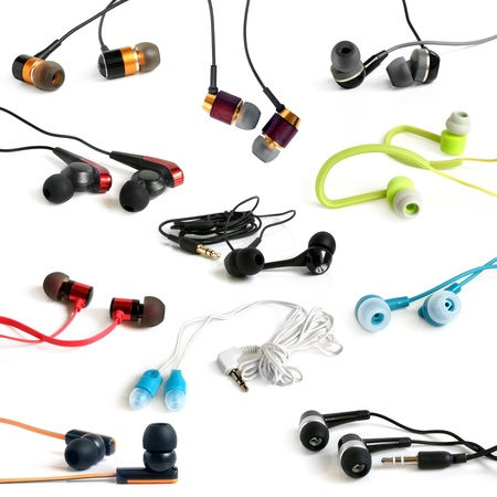 sonic: Earphones collection on the white background Stock Photo