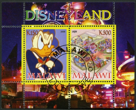 donald: MALAWI - CIRCA 2008: A stamp printed in Malawi shows Disneyland, Donald Duck, circa 2008 Editorial