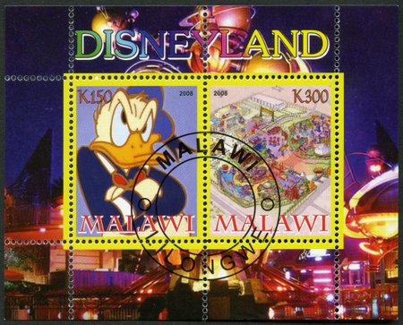 donald: MALAWI - CIRCA 2008: A stamp printed in Malawi shows Disneyland, Donald Duck, circa 2008 Editorial