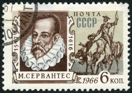 don: USSR - CIRCA 1966: A stamp printed in USSR shows portrait of Miguel de Cervantes Saavedra (1547-1616), Spanish writer, and Don Quixote, circa 1966
