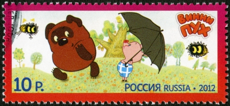 RUSSIA - CIRCA 2012: A stamp printed in Russia shows Winnie-the-Pooh, series Heroes of domestic cartoons, circa 2012 Stock Photo - 16721961