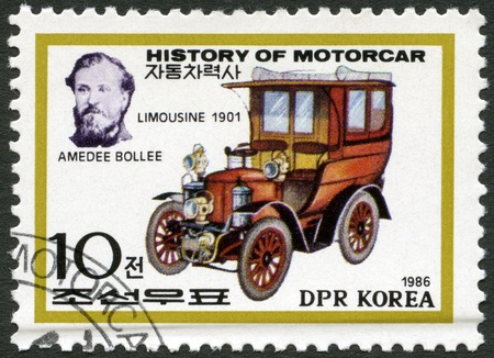 NORTH KOREA - CIRCA 1986: A stamp printed in North Korea shows Amedee Bollee and Limousine, 1901, series History of the Motor Car, circa 1986 photo