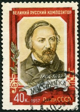 mikhail: USSR - CIRCA 1957: A stamp printed in USSR shows Mikhail Ivanovich Glinka (1804-1857), Composer, circa 1957