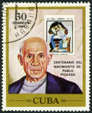 printmaker: CUBA - CIRCA 1981: A stamp printed in Cuba shows Pablo Picasso (1881-1973), artist, birth centenary, and postage stamp shows The Man with the Pipe, by Picasso, 1967, circa 1981 Editorial