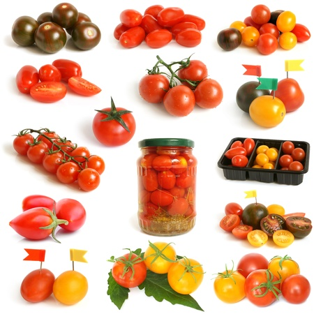 Tomatoes collection on a white background photo