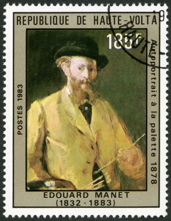 UPPER VOLTA - CIRCA 1983  A stamp printed in Upper Volta shows Self-portrait at the palette, by Manet, 1878, circa 1983