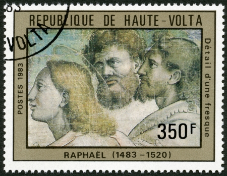 UPPER VOLTA - CIRCA 1983  A stamp printed in Upper Volta shows Fresco Detail, by Raphael, circa 1983