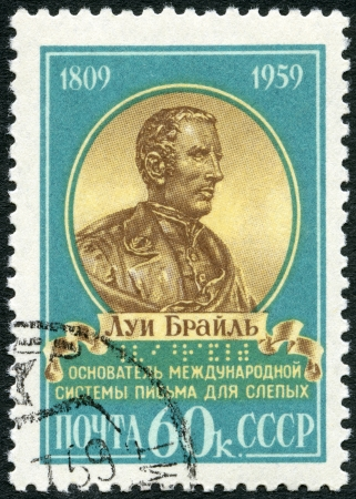 USSR - CIRCA 1959  A stamp printed in USSR shows portrait of Louis Braille  1809-1852 , 150th anniversary of the birth of Louis Braille, French educator of the blind, circa 1959 Stock Photo - 16816802