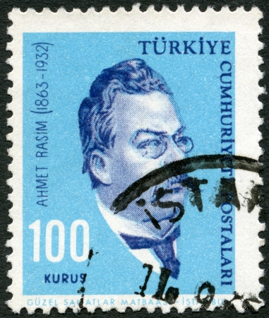 TURKEY - CIRCA 1964  A stamp printed in Turkey shows Ahmet Rasim  1864-1932 , writer, circa 1964 Stock Photo - 16816803