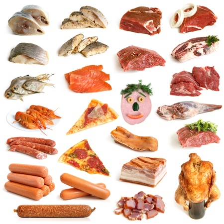 Collection of meat and seafood on a white background