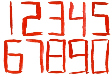 Painted red watercolor numbers isolated on a white background photo