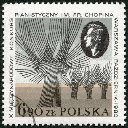 frederic: POLONIA - CIRCA 1980: Un sello impreso en Polonia muestra el retrato de Frederic Chopin (1810-1849), Concurso de Piano Chopin dedic�, alrededor de 1980
