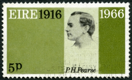 proclamation: IRELAND (EIRE) - CIRCA 1966: A stamp printed in Ireland shows Patrick Henry Pearse (1879-1916), 50th anniversary of the Easter Week Rebellion, and to honor the signers of the Proclamation of the Irish Republic, circa 1966