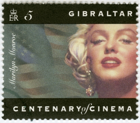 monroe: GIBRALTAR - CIRCA 1995: A stamp printed in Gibraltar shows Marilyn Monroe, circa 1995 Editorial