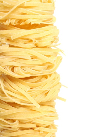Egg noodles isolated on a white background photo