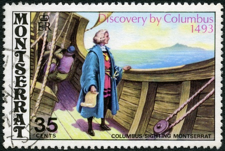 MONTSERRAT - CIRCA 1973: A stamp printed in Montserrat shows image of the Christopher Columbus aboard ship sighting Montserrat, devoted 480th anniversary of the discovery of Montserrat by Columbus, circa 1973