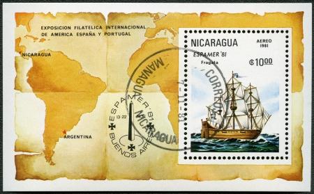 NICARAGUA - CIRCA 1981: A stamp printed in Nicaragua shows Frigate, Espamer 81 Stamp Exhibition, Buenos Aires, Nov. 13-22, circa 1981 photo