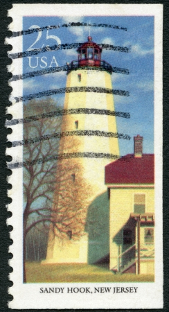 UNITED STATES OF AMERICA - CIRCA 1990: A stamp printed in USA shows Sandy Hook, New Jersey, series Lighthouses, circa 1990