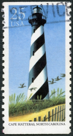 UNITED STATES OF AMERICA - CIRCA 1990: A stamp printed in USA shows Cape Hatteras, North Carolina, series Lighthouses, circa 1990