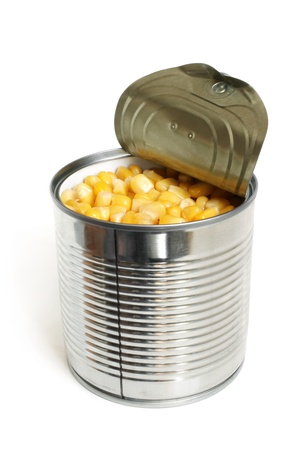 canned goods: Open metallic can with sweet corn on a white background Stock Photo