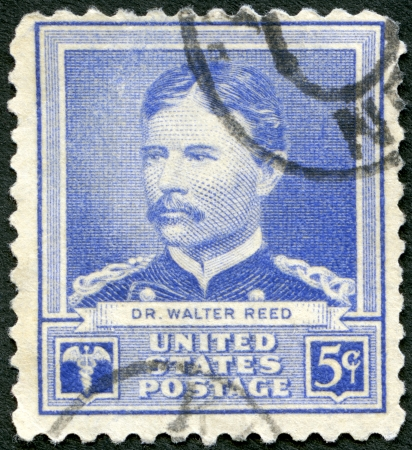 united states postal service: USA - CIRCA 1940: A stamp printed in USA shows portrait of Dr. Walter Reed, series Scientists, circa 1940 Editorial