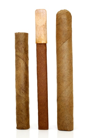 Cuban cigars on a white background photo