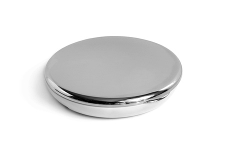 compact: Round cosmetic mirror on a white background Stock Photo