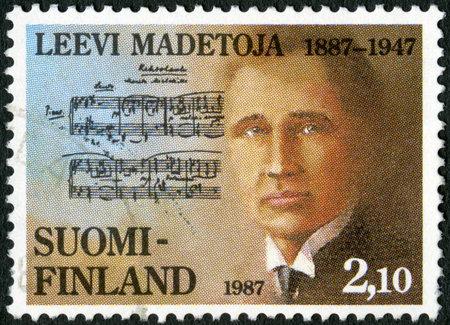 FINLAND - CIRCA 1987  A stamp printed in Finland shows Leevi Madetoja  1887-1947 , composer, circa 1987