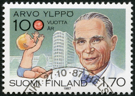 FINLAND - CIRCA 1987: A stamp printed in Finland shows Arvo Ylppo (1887-1992), pediatrics pioneer, Child and Lastenlinna Childrens Hospital, circa 1987