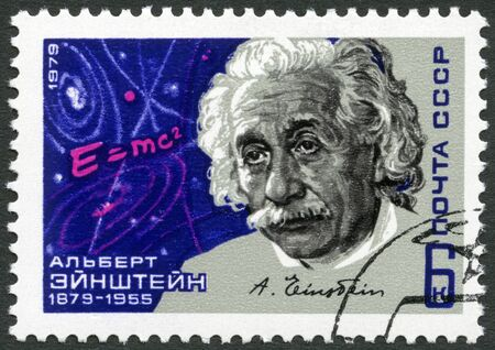 USSR - CIRCA 1979: A stamp printed in USSR shows Albert Einstein (1879-1955), theoretical physicist, Equation and Signature, circa 1979